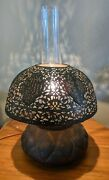 Antique Pierced Brass Table Lamp Moroccan Turkish Kerosene Converted To Electric