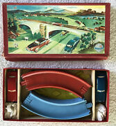 Rare Vintage Distler 1950s Wind Up 2 Tin Cars And Track W/ Box Us Zone Germany