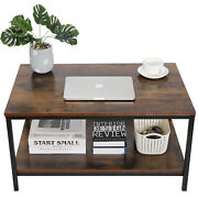 31 Rustic Wood Coffee Table Rectangular Coffee Table With Storage Shelf Durable
