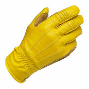 B - Biltwell Work Motorbike Motorcycle Riding Leather Gloves Gold