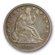 1840 50c Seated Liberty Half Dollar Anacs Ef 40 Extra Fine Xf Small Letter Ol...
