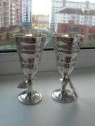 Vintage Beautifull Large Cups Glass Silver 925 Silver New Pair Hand Carved Used