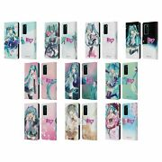Official Hatsune Miku Graphics Leather Book Wallet Case Cover For Huawei Phones
