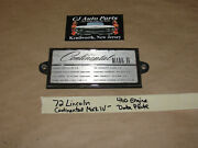 Oem 72 Lincoln Continental Mark Iv 460 Engine Data Plate Id Tag