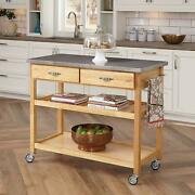 Home Styles Natural Kitchen Cart Stainless Top Wine Racck Drawer Mobile Wheels