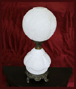 Rare Vintage Milk Glass Double Globe Grape And Leaf Design Bronze Footed Lamp