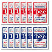12 Decks Of Red/blue Bee Club Special Poker Size Jumbo Index Playing Cards New