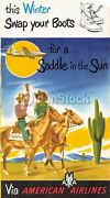 American Airlines West Coast Cowboy Vacations Graphic Advertising Brochure