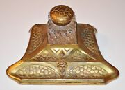 Antique Bronze Art Deco Inkwell W/ Lady Glass Or Perfume Bottle