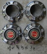 1985/97 Ford Truck Bronco Fseries Centercaps Set0'4 Red W/ Hub Holes And Screws