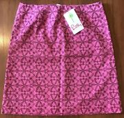 Nwt Lilly Pulitzer Skirt Pink Hibiscus Pin Honor Roll Embroidery Sz 8 Msrp228