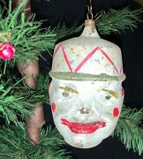 Rare Antique German Victorian Christmas Glass Ornament Double-sided Clown Head