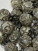 † Xl Vintage Sterling Double Capped Mother Of Pearl Rosary Necklace 36 69 Gr †