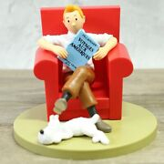 Tintin Sitting Sofa Snowy Collectible Model Toy Statues Office Home Decoration