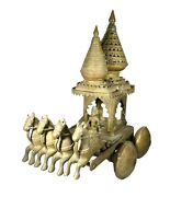 Vintage Brass Horse Statue, Four Horses Chariot Wheels Sculpture Collectible Ind