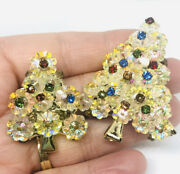 Lot Of 2 Ab Margarita Glass Crystal Christmas Tree Brooches Vintage Jewelry