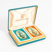 Vintage Kem Tall Ships Plastic Playing Cards With Green Vinyl Jewel Case Box