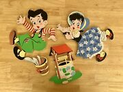Vintage 1940s Jack And Jill Hanging Wall Decor Mother Goose Kids A6