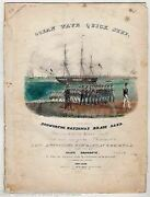 Old Ironsides Ocean Wave Quick Step Brass Band Antique Hand Colored Sheet Music