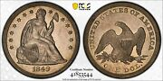 1849 Seated Liberty 1 Pcgs Au 55 Glossy Lustrous Silver Grey Faint Hint Of Gold