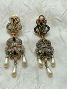 Gorgeous Antique French Earrings -silver Andgold Tone, Tear Drop Of Pearl, Stones