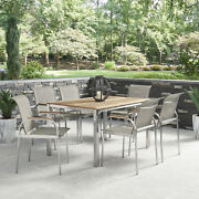 Home Styles Aruba Stainless Steel And Teak Outdoor 7 Pc. Dining Group