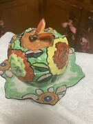 Rare Hand Painted Mij Art Deco Bee Finial Honey Pot With Clarice Cliff Flowers