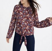 Madewell Bell Sleeve Tie Top In Antique Flora Floral Print Burgundy Size Large