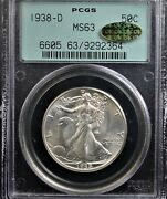1938 D Walking Liberty Half Pcgs Ms 63 Old Green Holder And Gold Cac Key Date