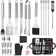 25pcs Bbq Grill Accessories Enlarged Handle Stainless Steel Grilling Tools