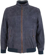 Paul And Shark Yachting Men's Goat Leather Jacket Blouson Perforated Navy Size 2xl