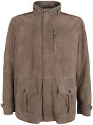 Paul And Shark Yachting Menand039s Goat Leather Jacket Perforated Brown Size 5xl