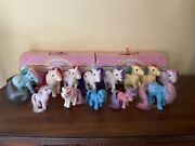 Lot 13 Mlp My Little Ponies Pony G1 1982-1989 And 2 Vintage Hasbro Stable Cases