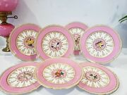 Minton Porcelain Cabinet Pink Jewelled Dessert Plates And Tazza