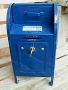 Coin Bank Piggy Blue Usps Post Office Mailbox Replica Vintage Used Euc With Key
