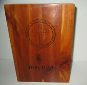 Vtg Holy Bible Illustrated Peace Of Mind Ed Wood Wooden Box Memorial Unused