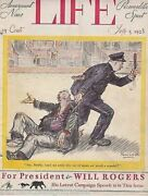Will Rogers President Police Cover Art Graphic Illustrated Life Magazine 1928