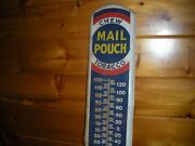 Vintage Metal Chew Mail Pouch Tobacco Thermometer / Working Order