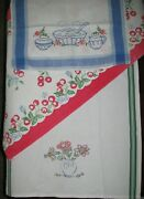 3 Vintage Stripes-red Cherries+2 Beautifully Hand-embroidered Kitchen Tea Towels