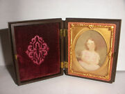 Antique Miniature Young Girl Portrait Painting Gutta Percha Case Playing Chess