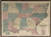 1866 O.d. Case Map Of The Seat Of War To Accompany The American Conflict- Framed
