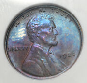 1924 Lincoln Had Cent Soapbox Holder Anacs Ms63bn Awesome Blue And Violet Toning