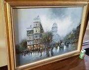 Washington Dc Capitol Oil Painting On Canvas 31 X 43 Signed