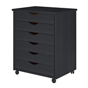 Black Roll Cart Wide With 6-drawer Solid Wood Furniture Hardwood On Casters New