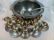 Rare Large Vintage Derby Silver Co Hand Beaten Hammered Punch Bowl And Cups 632