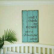 Rustic Farmhouse Wood Sign Wall Art What A Wonderful World Sign Uplifting 36 H