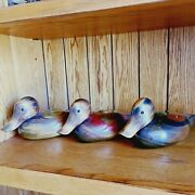 Bundy And Company Set Of 3 Baby Ducks Wooden Decoy Decorative Carving Collection