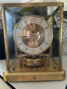Vintage Atmos Jaeger Lecoultre 540 Switzerland 9 Brass And Glass Mantel Clock