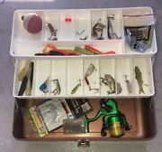 Vintage Old Pal Metal Fishing Tackle Box + Lot Of Lures + Reel And More Usa Made