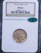 1913-d Type 1 Buffalo Nickel Ngc Ms64 Cac Golden With Superb Luster, Pq 73t